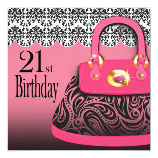 Damask Handbag Paisley Purse 21st Birthday Card