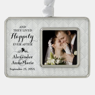 Damask Happily Ever After Wedding Photo Ornament