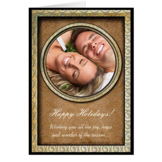 Damask Happy Holidays Gold Frame Your Photo Card
