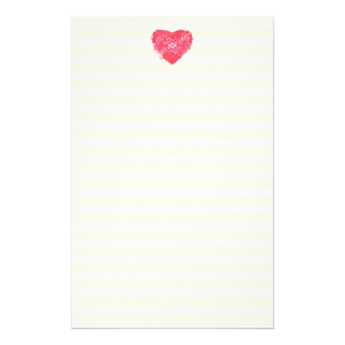 Damask Heart Lined Stationery / Writing Paper