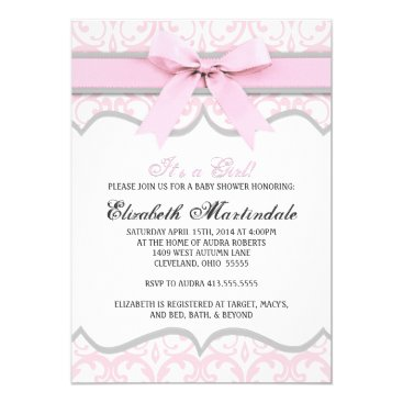 Toddler & Baby themed Damask Heart Pink Ribbon Baby Shower Invitation