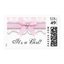 Damask Heart Pink Ribbon Baby Shower Postage
