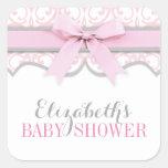 Damask Heart Pink Ribbon Baby Shower Sticker