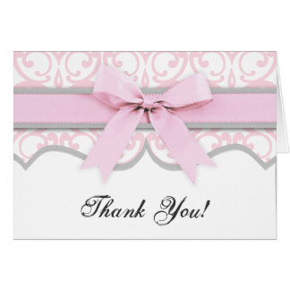 Damask Heart Pink Ribbon Baby Shower Thank You Card