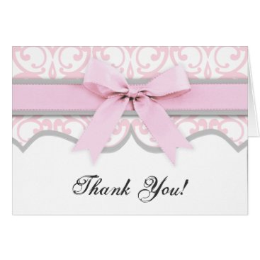 Valentines Themed Damask Heart Pink Ribbon Baby Shower Thank You Card