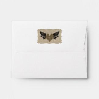 Damask Heart Steampunk Goth Wedding Envelope