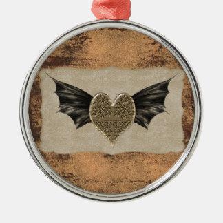 Damask Heart Steampunk Goth Wedding Christmas Ornaments