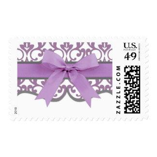 Damask Hearts and Elegant Ribbon Postage Stamp
