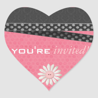 Damask Hearts Invitation Stickers