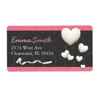 Damask Hearts Pink & Gray Return Address Labels
