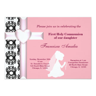 Damask Holy Communion 5x7 Paper Invitation Card
