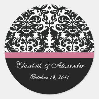 Damask Honeysuckle Pink Bridal Shower Sticker