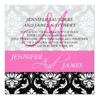 Damask Hot Pink Monogram Name Wedding Invitations