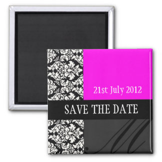 Damask hot pink Save The Date Magnet