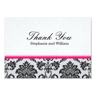 Damask Hot Pink Wedding Thank You Card