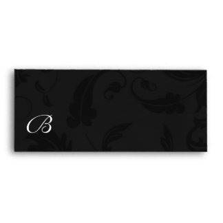 Damask in Black and Silver with Monogram Envelope