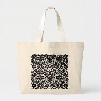Damask In Black Large Tote Bag