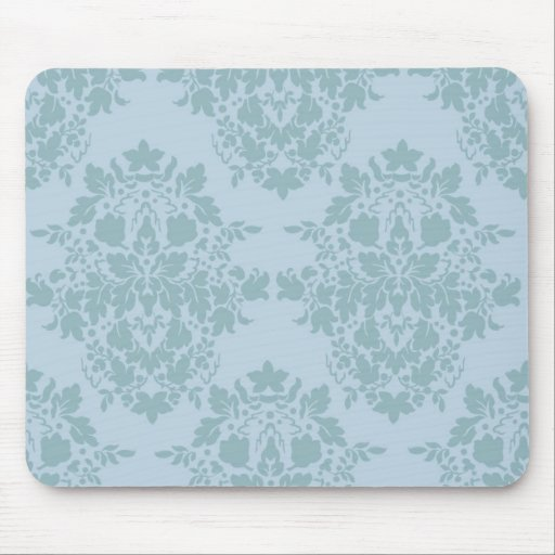 damask in blue mouse pad