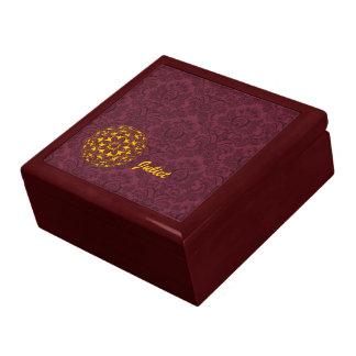 Damask in Burgundy with Metallic Gold Ornament Trinket Box