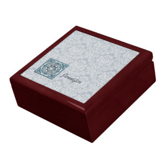 Damask in Lt Grey with Blue Metal Charm Trinket Boxes