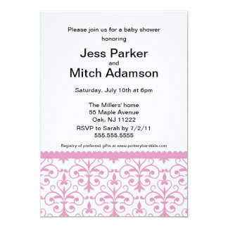Damask in Pink Baby Girl Shower Invite