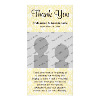 Damask in White and Cream - Tan Wedding Thank You Personalized Photo Card