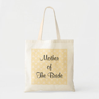 Damask in White and Cream - Tan Wedding Tote Bag