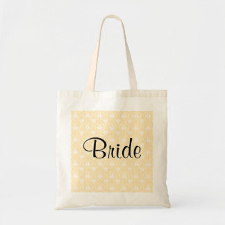 Damask in White and Cream - Tan Wedding Tote Bags