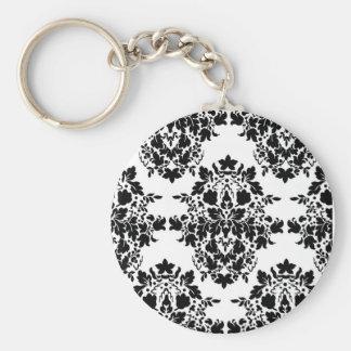 damask in White & Black Basic Round Button Keychain