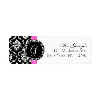 Damask Initial Pink Wedding Address Label