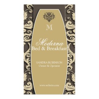 Modern Damask Bed and Breakfast Business Cards Template
