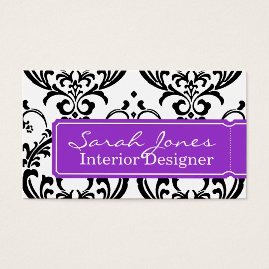 Damask Interior Design Business Card Purple