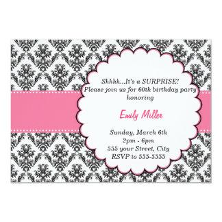 Damask Invitation Adult Birthday Party Black Pink