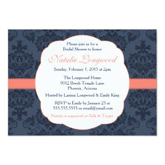 Damask Invitation Bridal, Baby Shower, coral navy