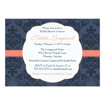 Toddler & Baby themed Damask Invitation Bridal, Baby Shower, coral navy