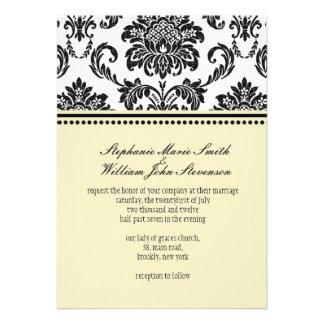 Damask Ivory Wedding Invitation
