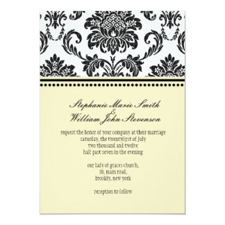 Damask Ivory Wedding Invitation