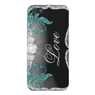 Damask Jewel iPhone 4 Cover silver teal blue