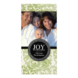 "Damask ""JOY TO THE WORLD"" Holiday Photo Card"