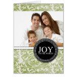 Damask Joy to the World Photo Christmas Card