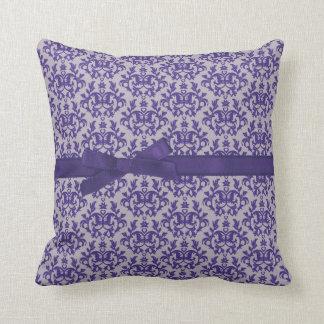 """Damask """"Kangaroo Paws"""" purple grey ribbon pillow"""