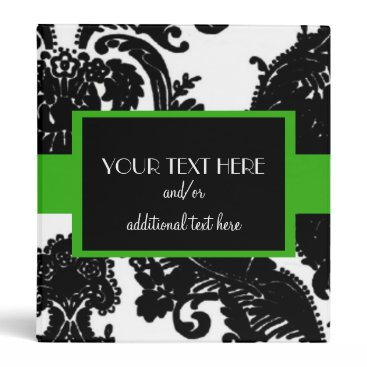 Professional Business Damask, Kelly Green Binder