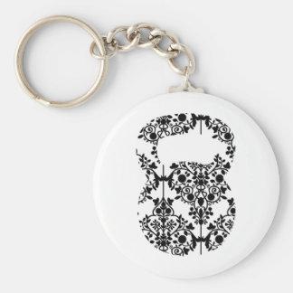 Damask Kettlebell Basic Round Button Keychain