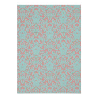 Damask Lace Peach Teal Poster