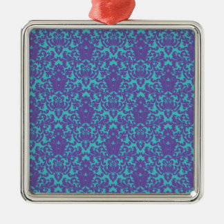 Damask Lace Purple Teal Christmas Tree Ornaments
