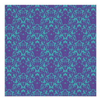 Damask Lace Purple Teal Poster