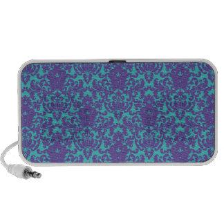 Damask Lace Purple Teal Travel Speaker