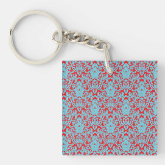 Damask Lace Red Blue Keychain