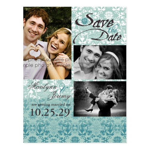Damask Lace Turquoise Blue Save The Date Photo Postcard