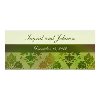 Damask Late Summer Green Wedding or Save the Date Card